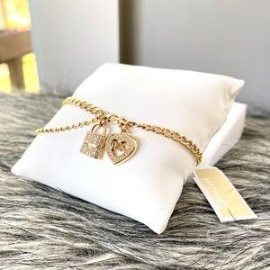 NWT MK love is in the air heart & lock bracelet